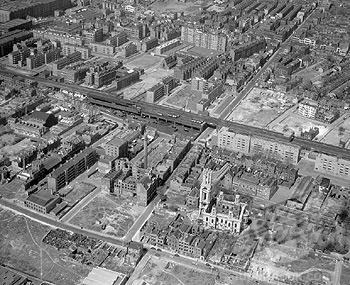 World War II bomb damage, East London, April 1960.